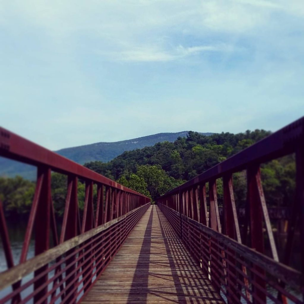 The James River Footbridge, longest foot traffic only bridge on the entire Appalachian Trail.  #AppalachianTrail2016 #yearofadventure #exploring #backpacking #whiteblazers #optoutside #scenery #bridge #engineering — at James River Footbridge.
